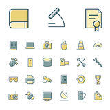 Thin line icons for science and technology Stock Photos