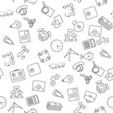 Thin line icons seamless pattern. Business, commerce and finance icon white background for websites, apps, presentations, cards, templates Royalty Free Stock Photos