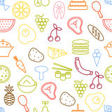 Thin line icons seamless pattern. Stock Image