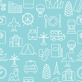 Thin line icons seamless pattern. Stock Photos