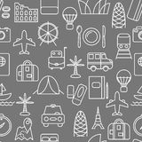 Thin line icons seamless pattern. Royalty Free Stock Photos