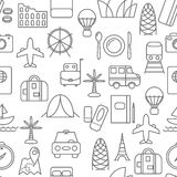 Thin line icons seamless pattern. Stock Photography