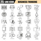 Thin line icons set of business content management, usability thinking Royalty Free Stock Photography