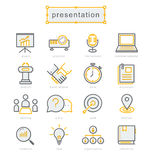 Thin line icons set, Business Presentation Stock Photo