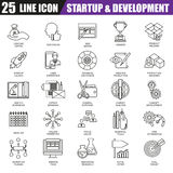 Thin line icons set of business startup, market vision and mission. Modern flat linear concept pictogram, set outline symbol for graphic and web designers Stock Photography