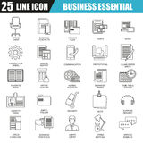 Thin line icons set of business tools, office essential equipment Royalty Free Stock Image