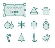 Thin line icons set, Christmas Stock Photo
