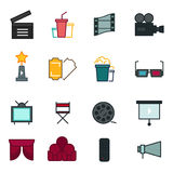 Thin line icons set of cinema shooting, movie making, film production, leisure entertainment,. Stock Photo