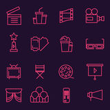 Thin line icons set of cinema shooting, movie making, film production, leisure entertainment,. Icons for branding website and mobile website and apps with Royalty Free Stock Image