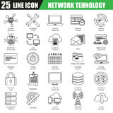 Thin line icons set of cloud computing data network technology services Royalty Free Stock Photography