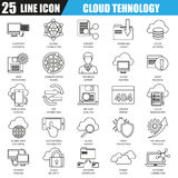 Thin line icons set of cloud data technology services, global connection Royalty Free Stock Images