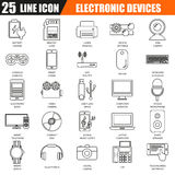 Thin line icons set of computer electronics and multimedia devices Royalty Free Stock Photography