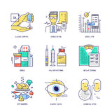 Thin line icons set of diabetes life. Vector. Flat Stock Images