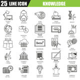 Thin line icons set of distance school education training. And study online. Modern flat linear concept pictogram, set outline symbol for graphic and web Royalty Free Stock Image