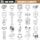 Thin line icons set of doing business elements, solution for clients Royalty Free Stock Photo