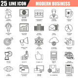 Thin line icons set of doing business using marketing technology ideas Stock Photos