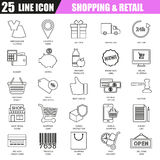 Thin line icons set of e-commerce, internet shopping. Retail store and online sales. Modern flat linear concept pictogram, set outline symbol for graphic and Royalty Free Stock Photo