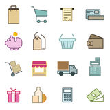 Thin line icons set of e-commerce, shopping, store, trade. Stock Images