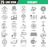 Thin line icons set of ecological energy source, environmental safety Royalty Free Stock Images