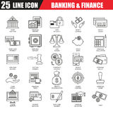 Thin line icons set of economics, banking and financial services Stock Photos