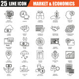 Thin line icons set of economics, banking and financial services, money savings. Modern flat linear concept pictogram, set outline symbol for graphic and web Royalty Free Stock Images