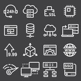 Thin line icons set of hosting and cloud computing networks concepts. Internet, server, network icons Stock Photos