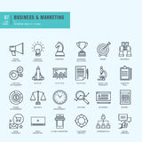 Thin line icons set. Icons for business, digital marketing. Royalty Free Stock Photo