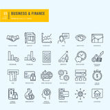 Thin line icons set. Icons for business, finance, m-banking. Stock Photo