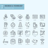 Thin line icons set. Icons for business, technology. Royalty Free Stock Images