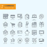 Thin line icons set. Icons for e-commerce, online shopping. Stock Photography