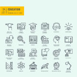 Thin line icons set. Icons for online education. Stock Photos