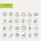 Thin line icons set. Icons for recycling, environmental. Stock Photography