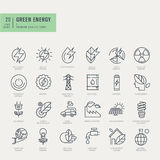 Thin line icons set. Icons for renewable energy, green technology. Royalty Free Stock Photos