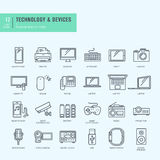 Thin line icons set. Icons for technology, electronic devices. Royalty Free Stock Photos