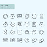 Thin line icons set. Icons for time and date. Stock Photography