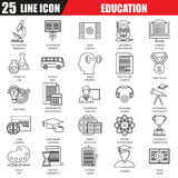 Thin line icons set of internet education and online course study Stock Photography