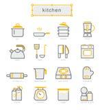 Thin line icons set, kitchen Royalty Free Stock Photos