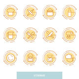 Thin line icons set of kitchen utensils, household tools and tableware. Royalty Free Stock Image