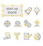 Thin line icons set, Linear symbols set,  Start up-yellow. Thin line icons set, Linear symbols set,  Start up Royalty Free Stock Images