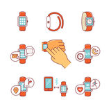 Thin line icons set. Modern smart watches and apps Stock Images
