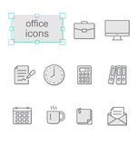 Thin line icons set, Office Stock Image