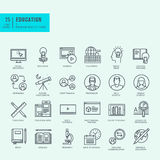Thin line icons set for online education. Set of thin line icons for online education, video tutorials, training courses Royalty Free Stock Photo