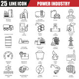 Thin line icons set of power plant, extraction of various resources stock illustration