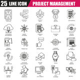 Thin line icons set of project management. Business leadership training and corporate career. Modern flat linear concept pictogram, set outline symbol for Royalty Free Stock Photography