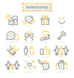 Thin line icons set, Relationship Royalty Free Stock Image