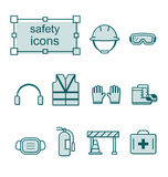 Thin line icons set, Safety Royalty Free Stock Photo