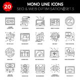 Thin Line Icons Set of Search Engine Optimization Royalty Free Stock Photos
