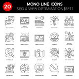 Thin Line Icons Set of Search Engine Optimization. Website and APP Design and Development. Simple Mono Line Pictogram Pack. Stroke Vector Logo Concept, Web Royalty Free Stock Image