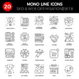 Thin Line Icons Set of Search Engine Optimization. Website and APP Design and Development. Simple Mono Line Pictogram Pack. Stroke Vector Logo Concept, Web Royalty Free Stock Photos
