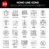 Thin Line Icons Set of Search Engine Optimization Royalty Free Stock Image